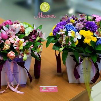 Лиловые коробки для цветов